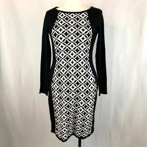 Allison Brittney Black and White Print Knit Dress